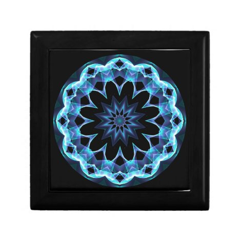 Crystal Star, Abstract Glowing Blue Mandala Gift Box