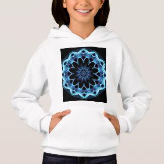 Crystal Star, Abstract Glowing Blue Mandala Hoodie