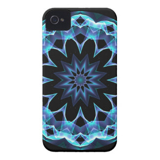Crystal Star, Abstract Glowing Blue Mandala iPhone 4 Case