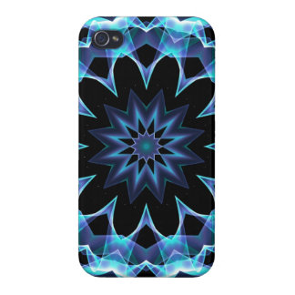 Crystal Star, Abstract Glowing Blue Mandala iPhone 4 Cover
