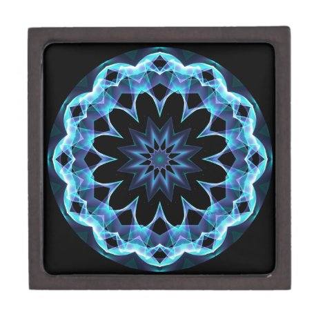 Crystal Star, Abstract Glowing Blue Mandala Jewelry Box