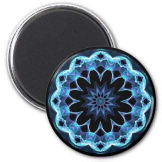 Crystal Star, Abstract Glowing Blue Mandala Magnet