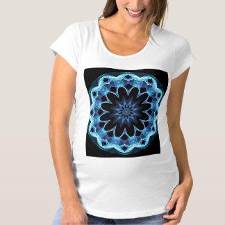 Crystal Star, Abstract Glowing Blue Mandala Maternity T-Shirt