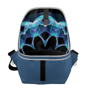 Crystal Star, Abstract Glowing Blue Mandala Messenger Bag