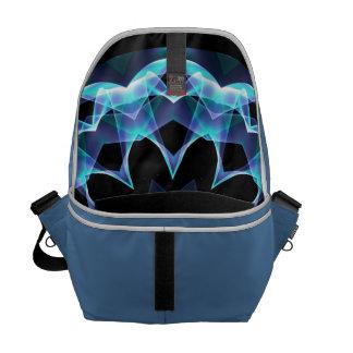 Crystal Star, Abstract Glowing Blue Mandala Messenger Bag