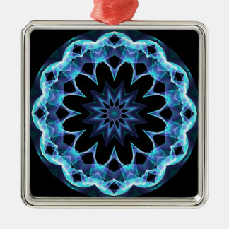 Crystal Star, Abstract Glowing Blue Mandala Metal Ornament