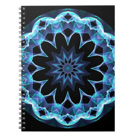 Crystal Star, Abstract Glowing Blue Mandala Notebook