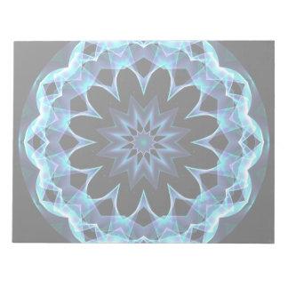 Crystal Star, Abstract Glowing Blue Mandala Notepad