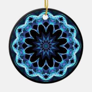 Crystal Star, Abstract Glowing Blue Mandala Christmas Ornaments