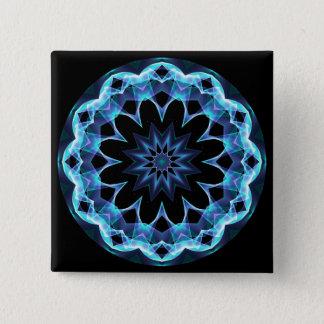 Crystal Star, Abstract Glowing Blue Mandala Pinback Button