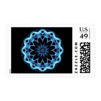 Crystal Star, Abstract Glowing Blue Mandala Postage