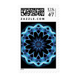 Crystal Star, Abstract Glowing Blue Mandala Postage Stamp