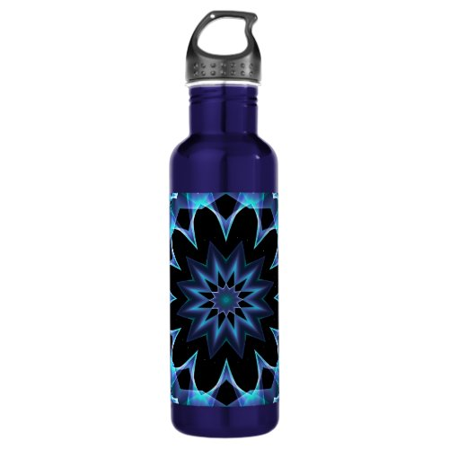 Crystal Star, Abstract Glowing Blue Mandala Stainless Steel Water Bottle