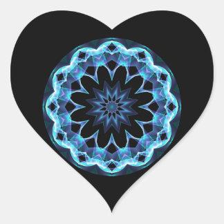Crystal Star, Abstract Glowing Blue Mandala Heart Sticker