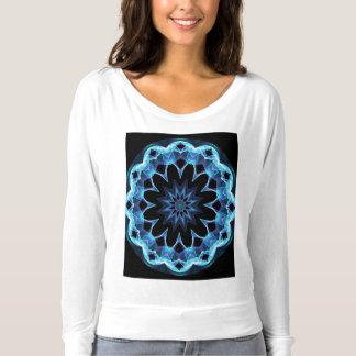 Crystal Star, Abstract Glowing Blue Mandala T-shirt