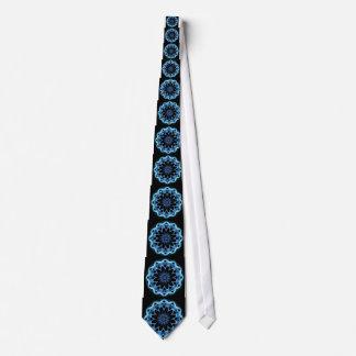 Crystal Star, Abstract Glowing Blue Mandala Tie