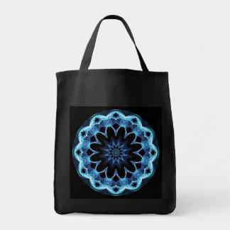 Crystal Star, Abstract Glowing Blue Mandala Tote Bag