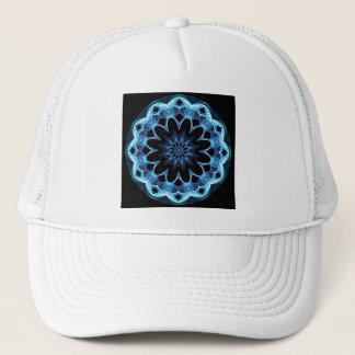 Crystal Star, Abstract Glowing Blue Mandala Trucker Hat
