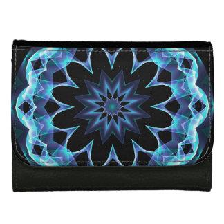 Crystal Star, Abstract Glowing Blue Mandala Wallets