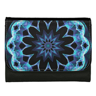 Crystal Star, Abstract Glowing Blue Mandala Wallets For Women