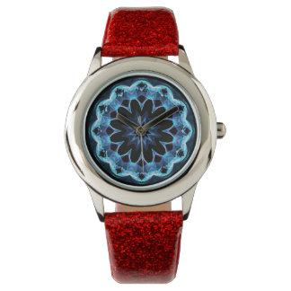 Crystal Star, Abstract Glowing Blue Mandala Watch