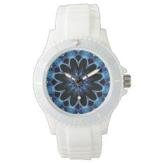Crystal Star, Abstract Glowing Blue Mandala Wrist Watch