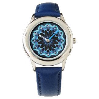 Crystal Star, Abstract Glowing Blue Mandala Wrist Watches