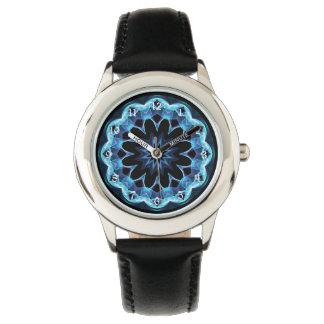Crystal Star, Abstract Glowing Blue Mandala Wristwatch
