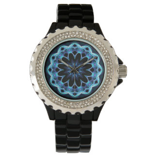Crystal Star, Abstract Glowing Blue Mandala Wristwatches