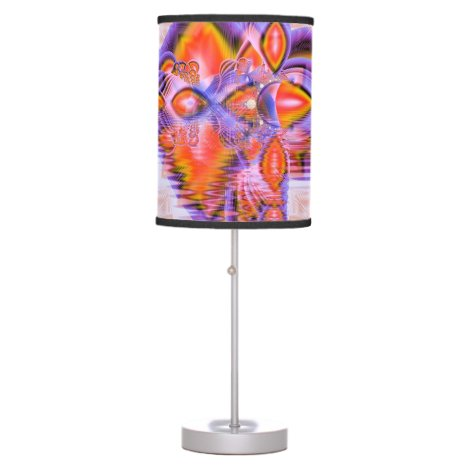 Crystal Star Dance, Abstract Purple Orange Desk Lamp