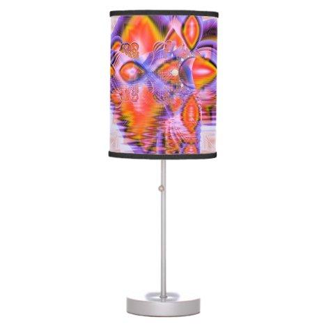 Crystal Star Dance, Abstract Purple Orange Desk Lamp