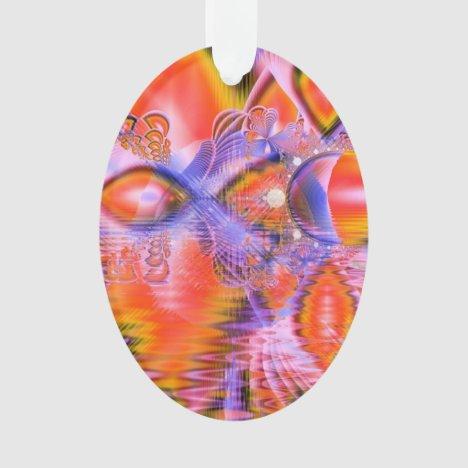 Crystal Star Dance, Abstract Purple Orange Ornament