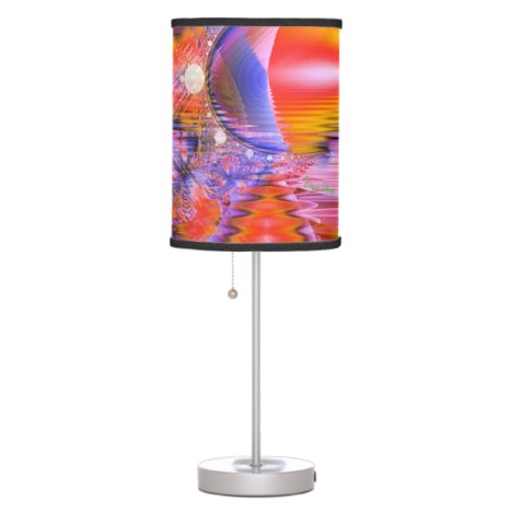 Crystal Star Dance, Abstract Purple Orange Table Lamp