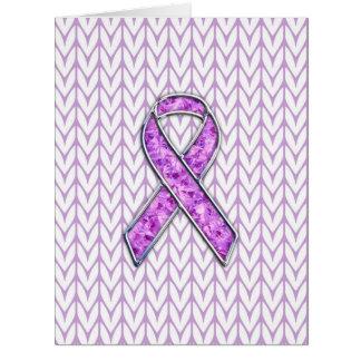 Crystal Style Pink Ribbon Awareness Knit Card
