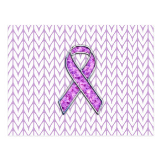 Crystal Style Pink Ribbon Awareness Knit Postcard