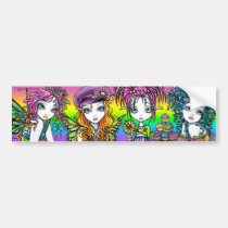 crystal, sunny, daisy, buttercup, cup, cake, rainbow, candy, flower, butterfly, cute, fairy, faery, faerie, fairies, fae, pixie, fantasy, art, myka, jelina, mika, characters, Bumper Sticker with custom graphic design