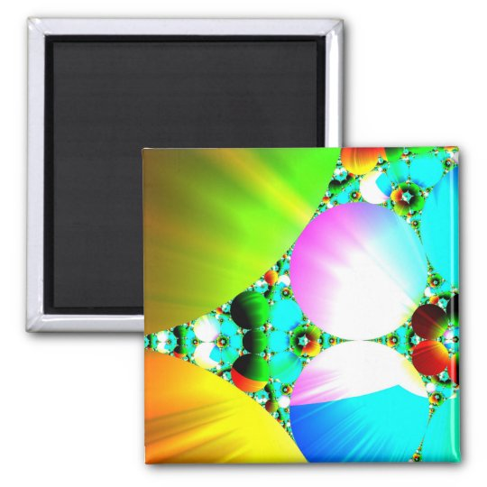 Crystal Sunrise - Abstract Fractal Rainbow 2 Inch Square Magnet