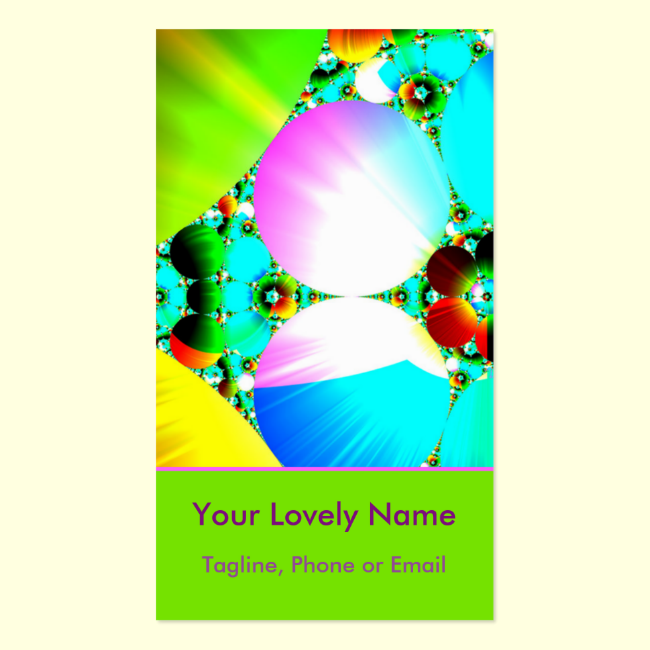 Crystal Sunrise, Abstract Fractal Rainbow Double-Sided Standard Business Cards (Pack Of 100)