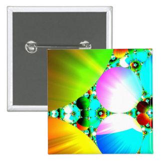 Crystal Sunrise - Abstract Fractal Rainbow Pinback Button