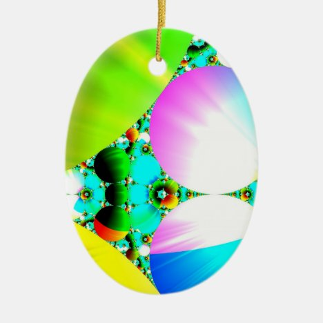 Crystal Sunrise - Abstract Fractal Rainbow Ceramic Ornament