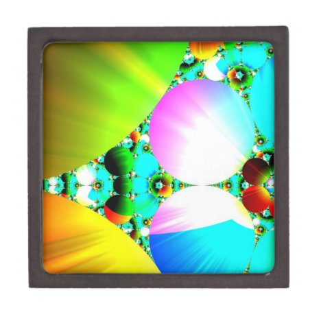 Crystal Sunrise - Abstract Fractal Rainbow Keepsake Box