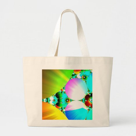 Crystal Sunrise - Abstract Fractal Rainbow Large Tote Bag