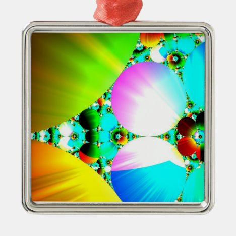 Crystal Sunrise - Abstract Fractal Rainbow Metal Ornament