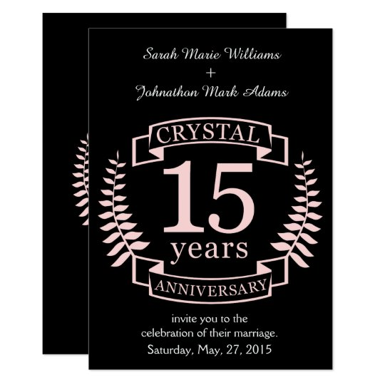 Crystal Wedding Anniversary 15 Years Invitation