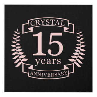 Crystal wedding anniversary 15 years panel wall art