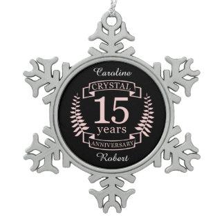 Crystal wedding anniversary 15 years snowflake pewter christmas ornament