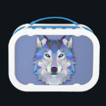 "CRYSTAL WOLF Geometric Wolf Head Lunch Box<br><div class=""desc"">Made up of numerous geometric shapes in an array of shades of purple, green, blue and white the end result is a strikingly beautiful wolf's head that looks like it's cut from crystal. An easy choice as a unique and memorable gift for any wolf or dog lover or those who...</div>"