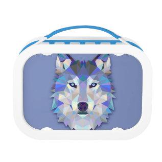 Crystal Wolf Geometric Wolf Head Lunch Box at Zazzle
