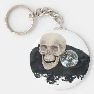 CrystalBallSkull033109 Basic Round Button Keychain