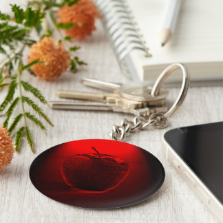 Crystalized Red Apple Button Keychain